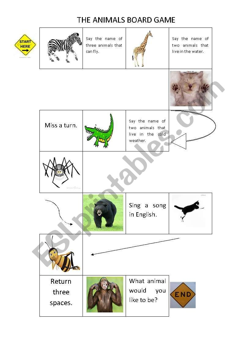 The animals board game worksheet