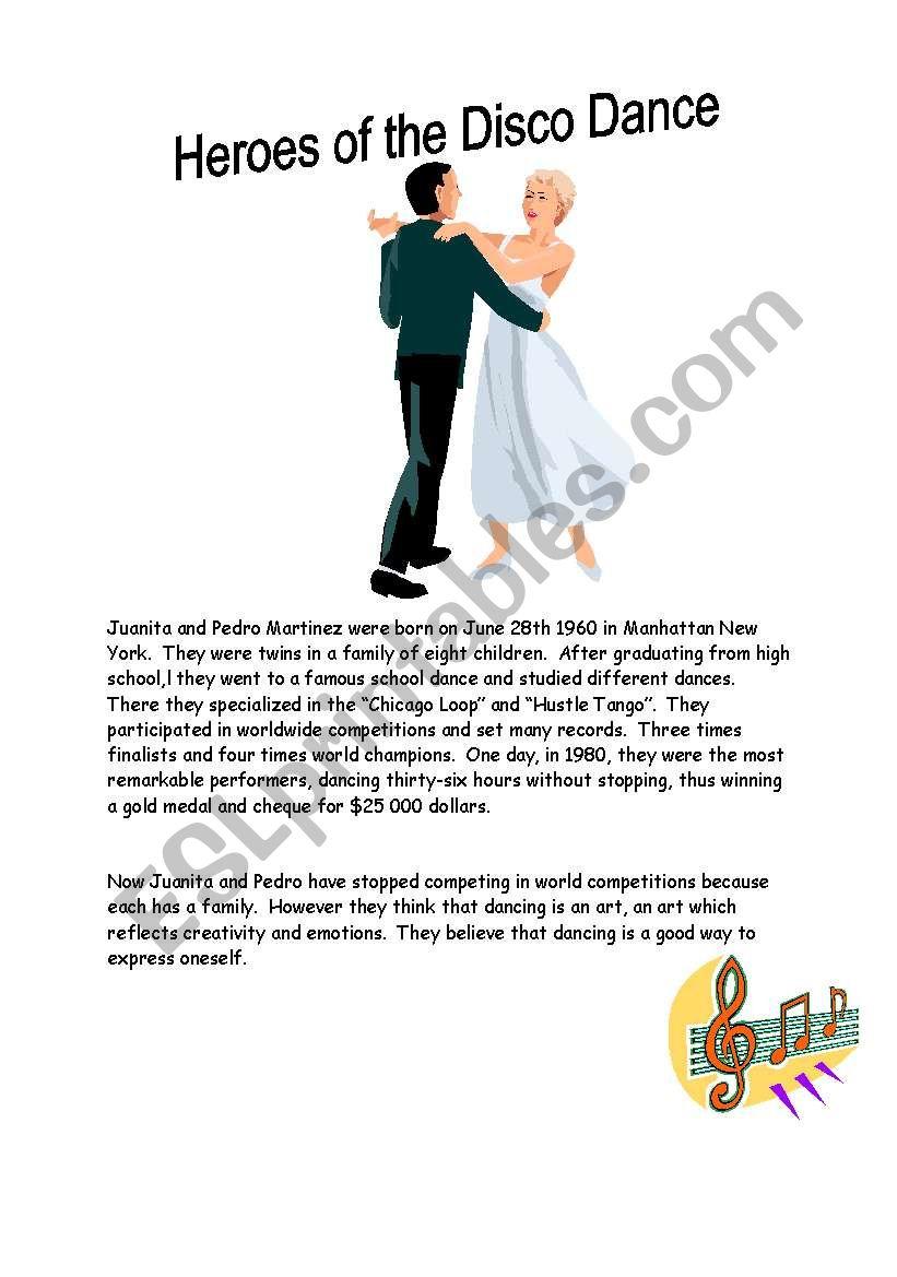 Heroes of the Disco Danse worksheet