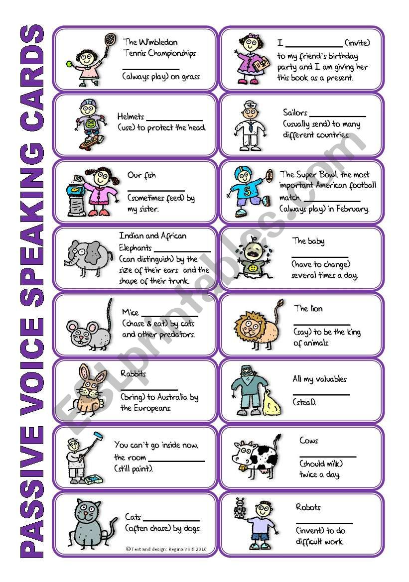 SET 1: Passive voice / tenses / adverbs of frequency / irregular verbs / modals - worksheet OR speaking activity (purple series)