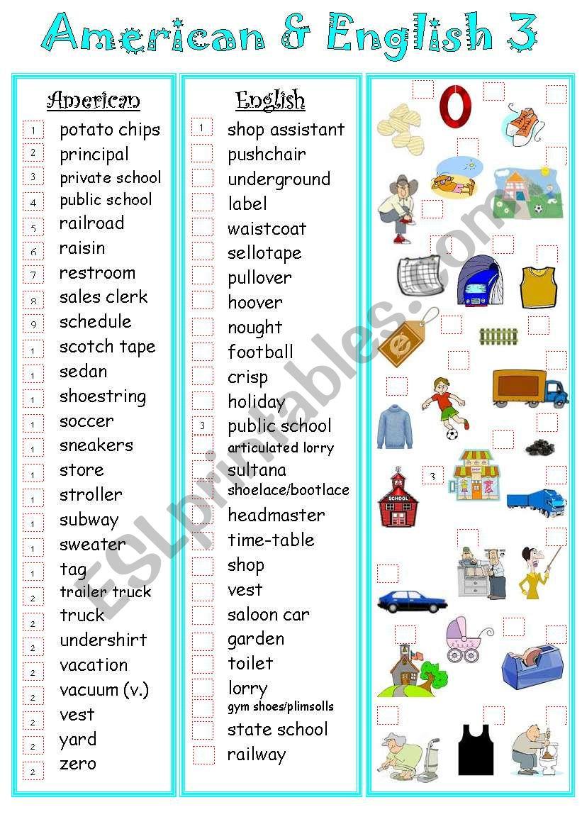 American&English 3 worksheet