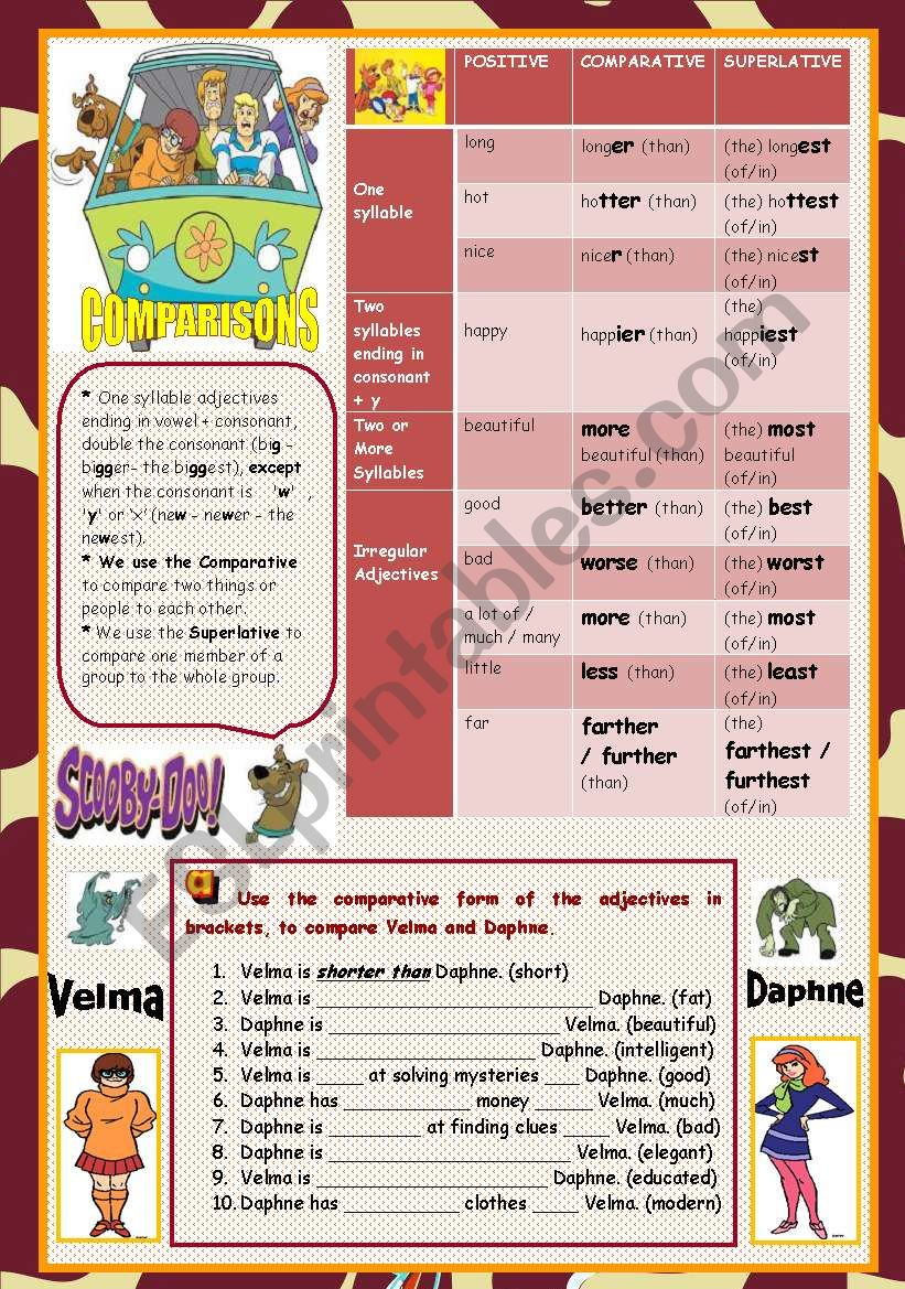 COMPARISONS WITH SCOOBY DOO worksheet