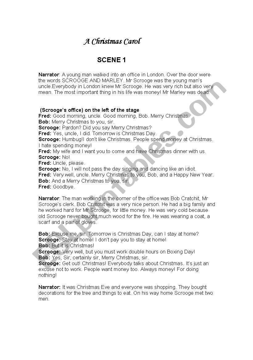 Short Christmas Play.A Christmas Carol Simple And Short Play Script Esl