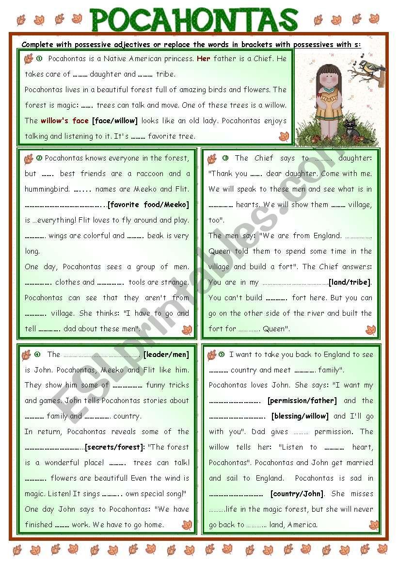 Fairy Tales/ Stories (17) - POCAHONTAS + possessive adjectives
