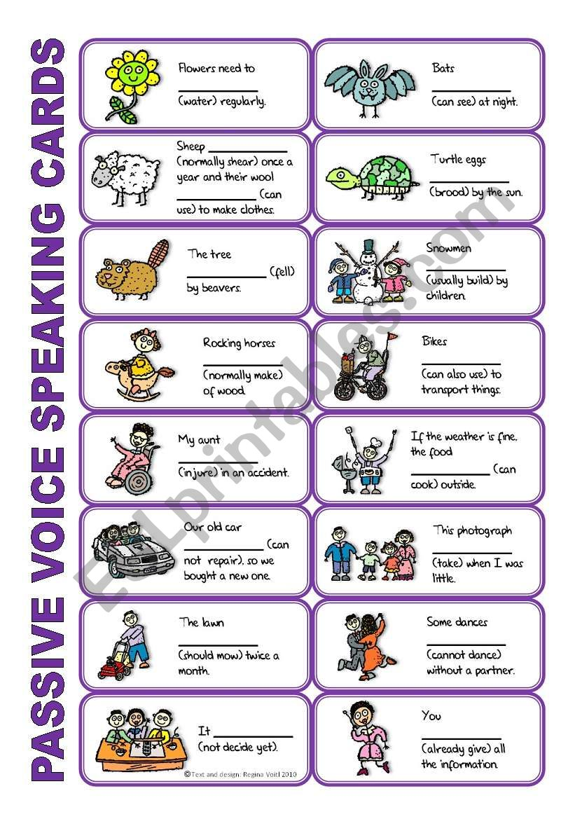 SET 2: Passive voice / tenses / adverbs of frequency / irregular verbs / modals - worksheet OR speaking activity (purple series)
