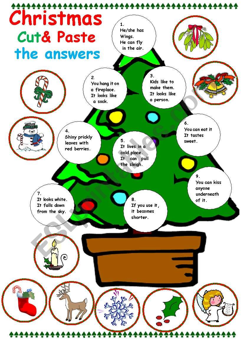 christmas Cut and paste worksheet