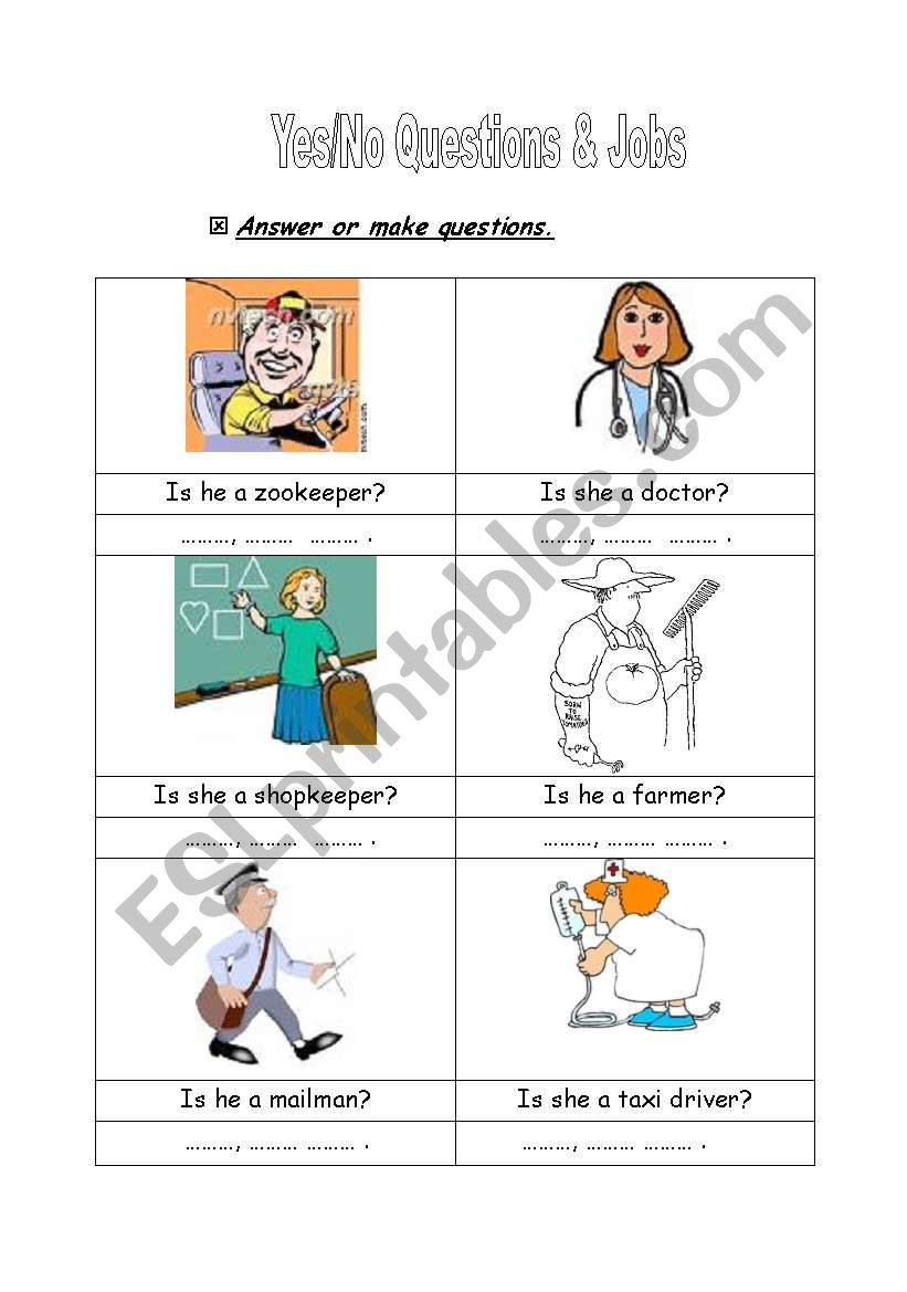 yes/no questions & jobs - ESL worksheet by Nihad