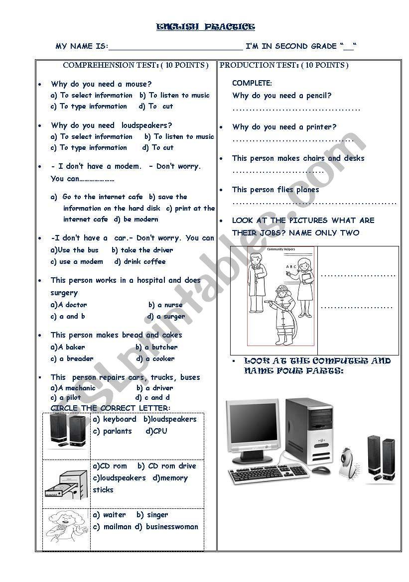 COMPUTER AND JOB PRACTICE worksheet