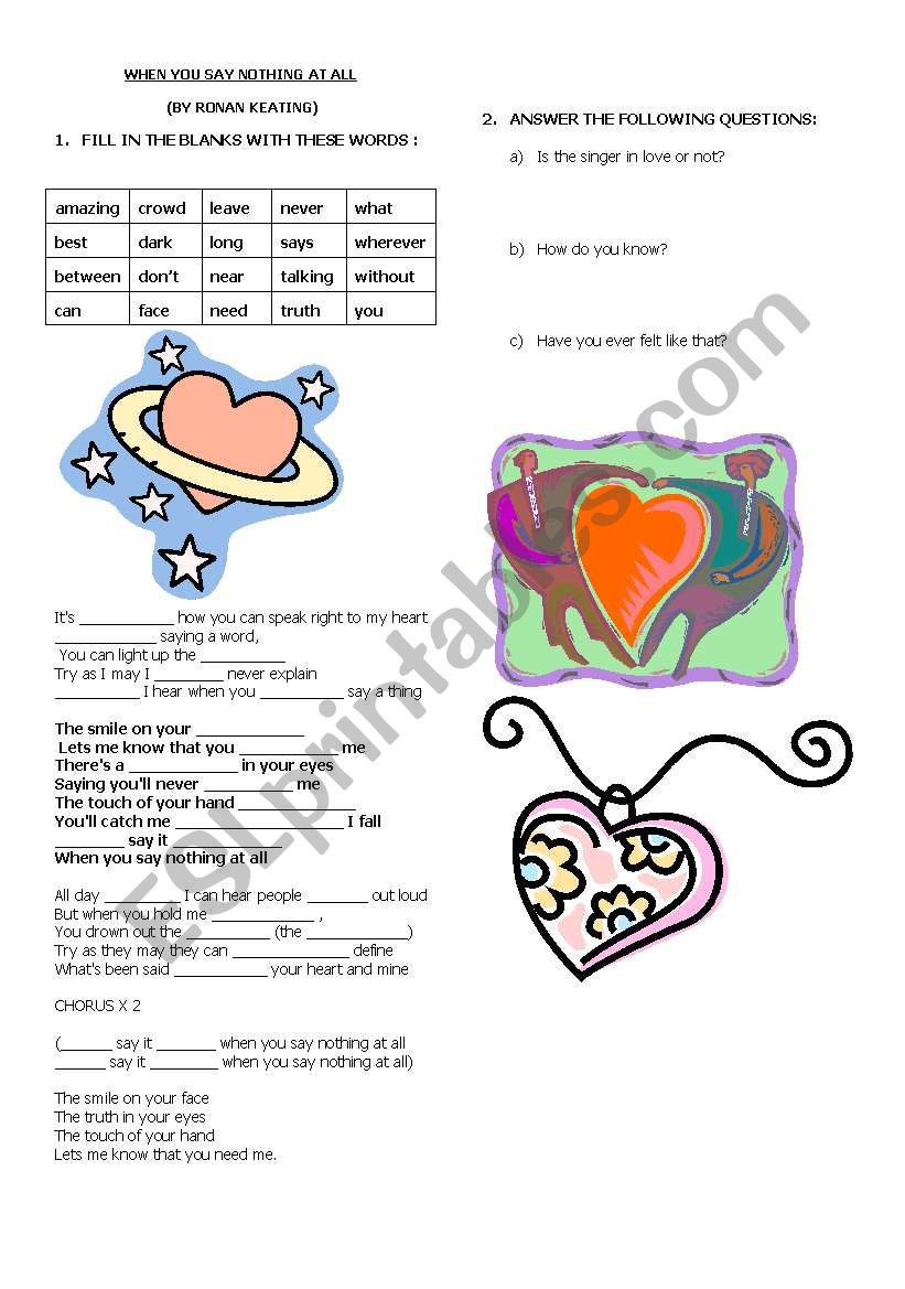 A LOVE SONG worksheet