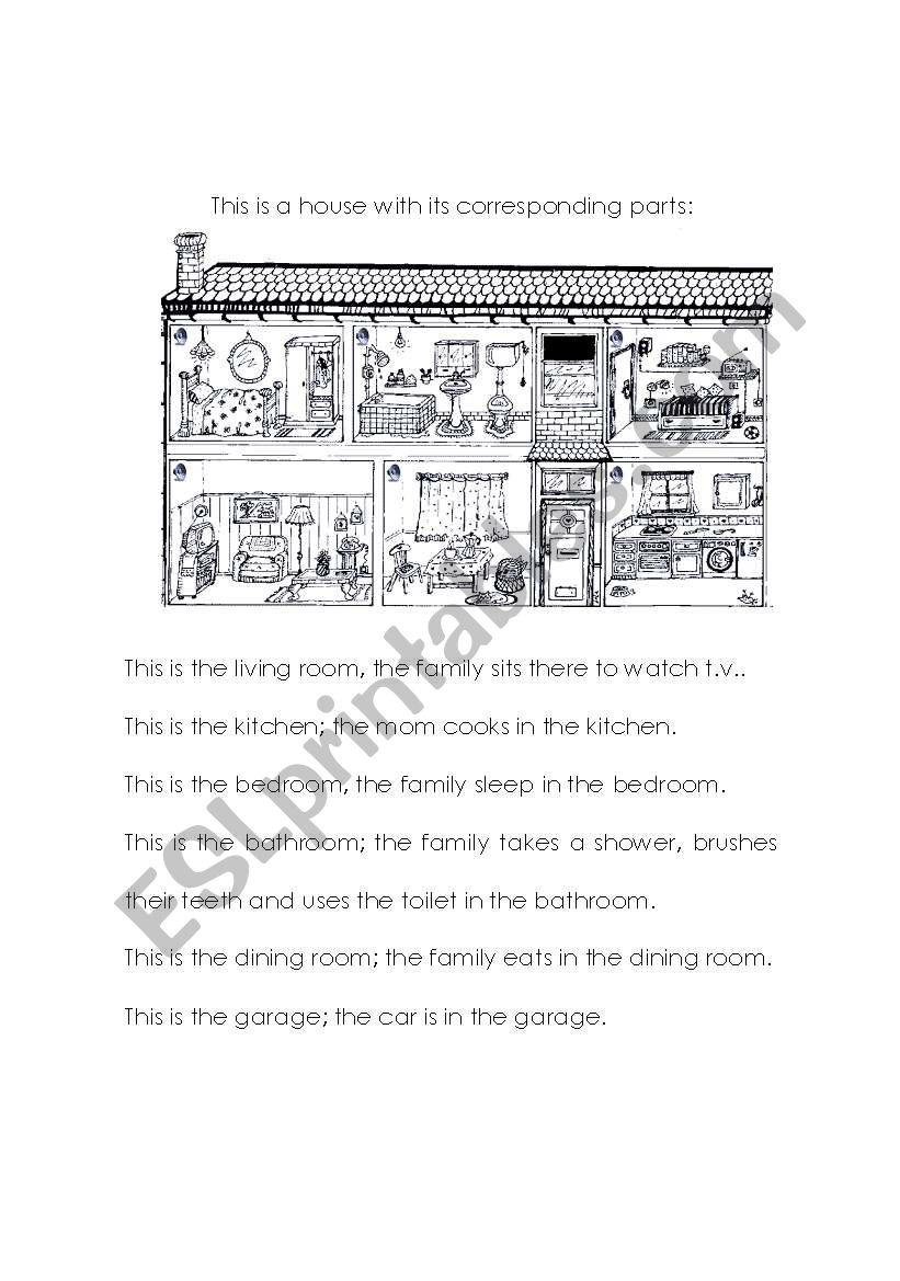 Parts of the house- Text worksheet