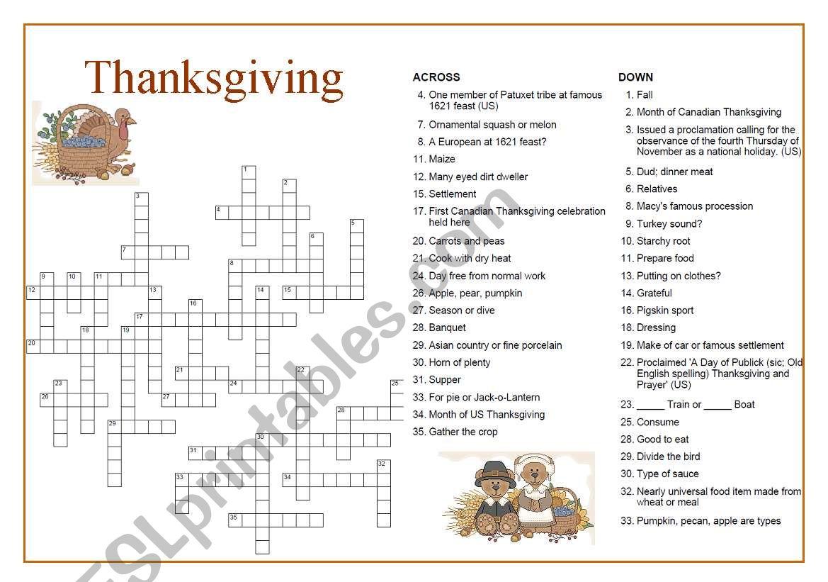 Thanksgiving Crossword worksheet