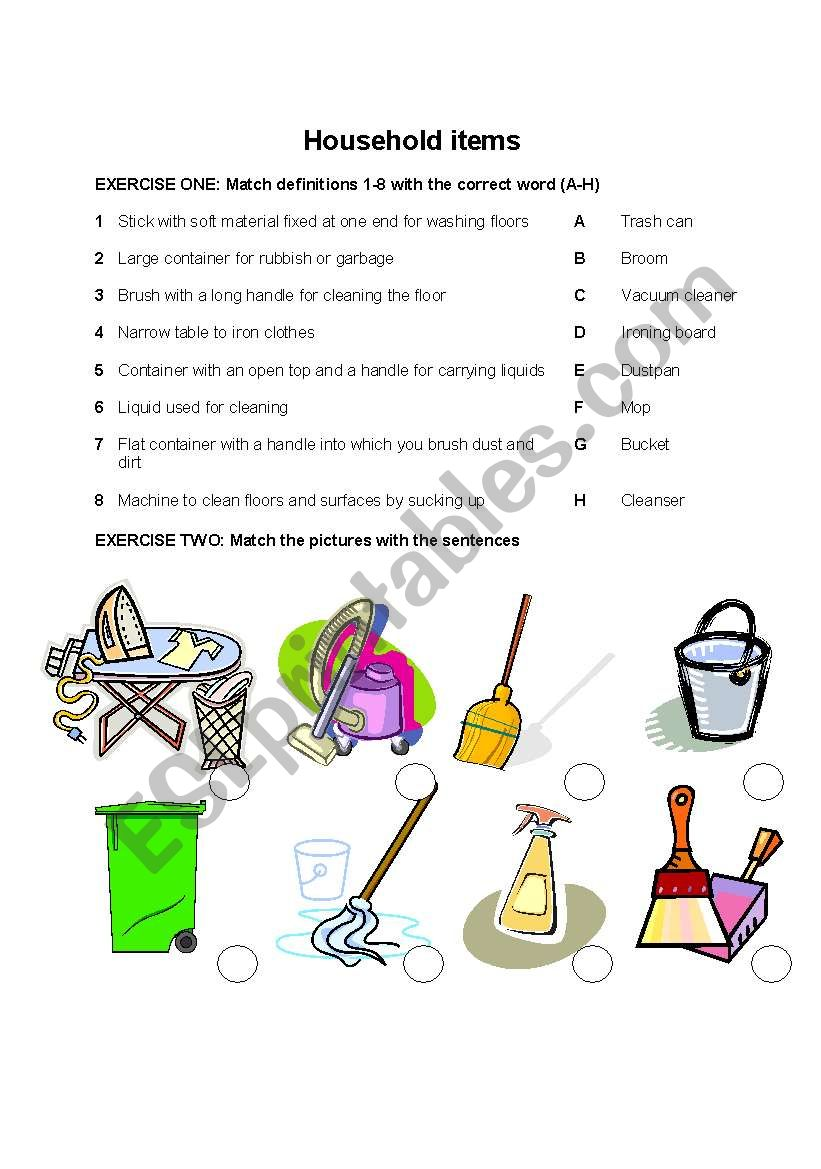 English worksheets: Cleaning the house Vocabulary