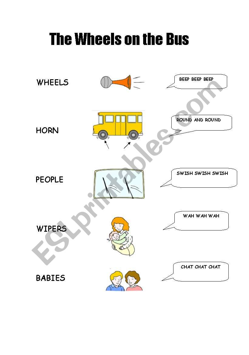 The wheels on the bus - matching activity