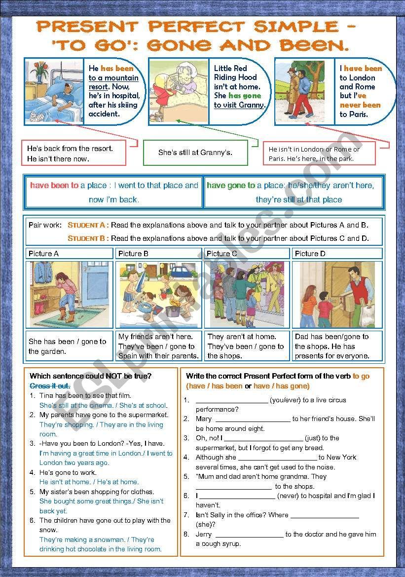 Have been vs have gone worksheet