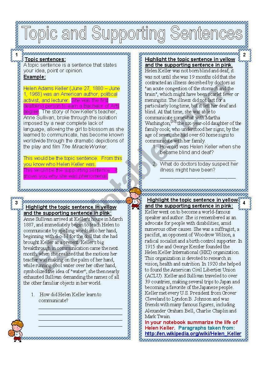Topic Sentences  worksheet