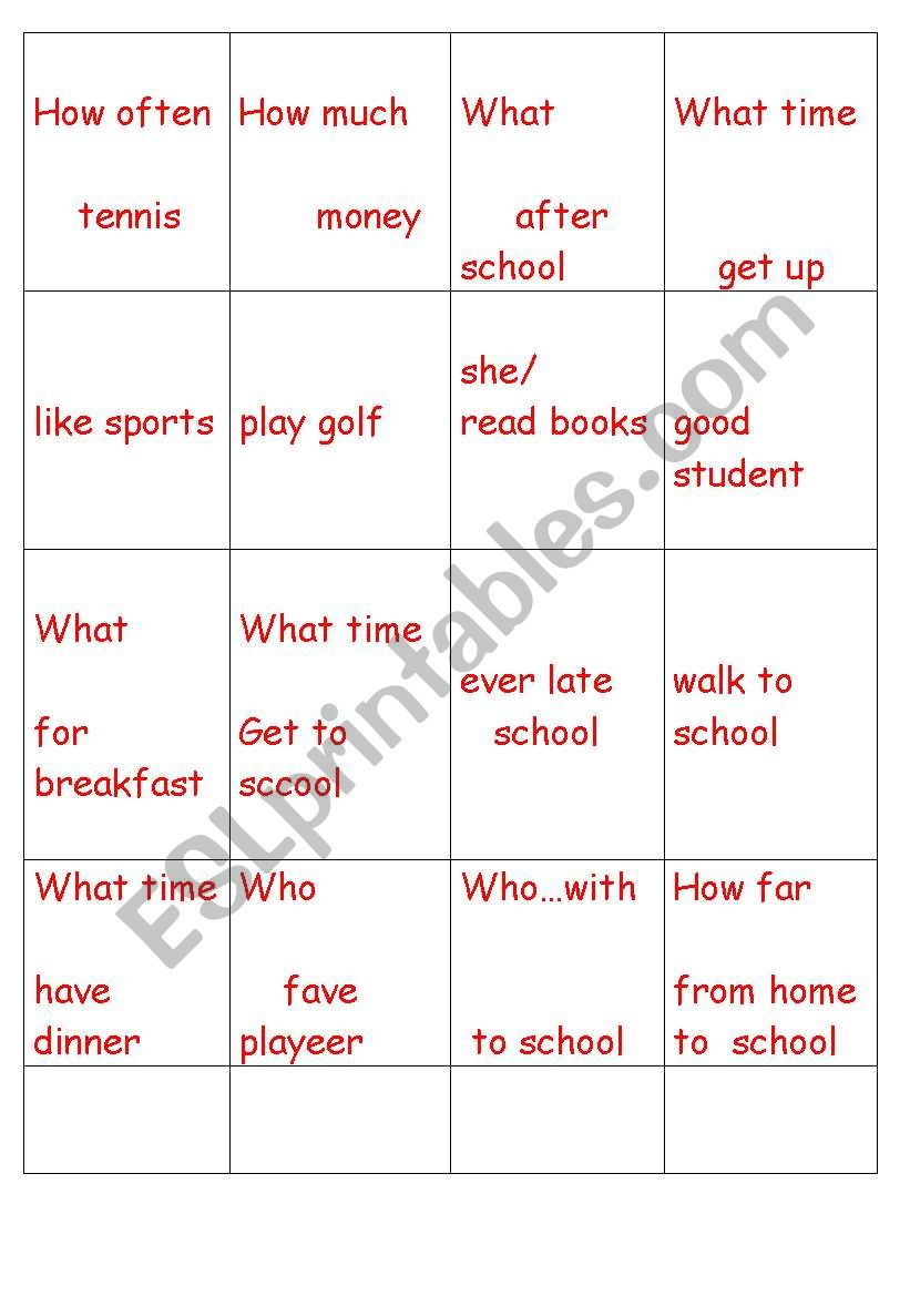 Wh questions and answers game worksheet
