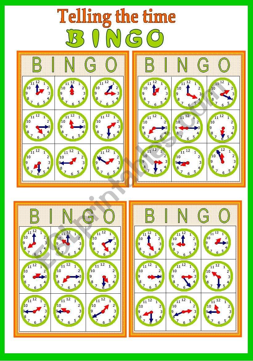 Telling he time Bingo game (fully editable)