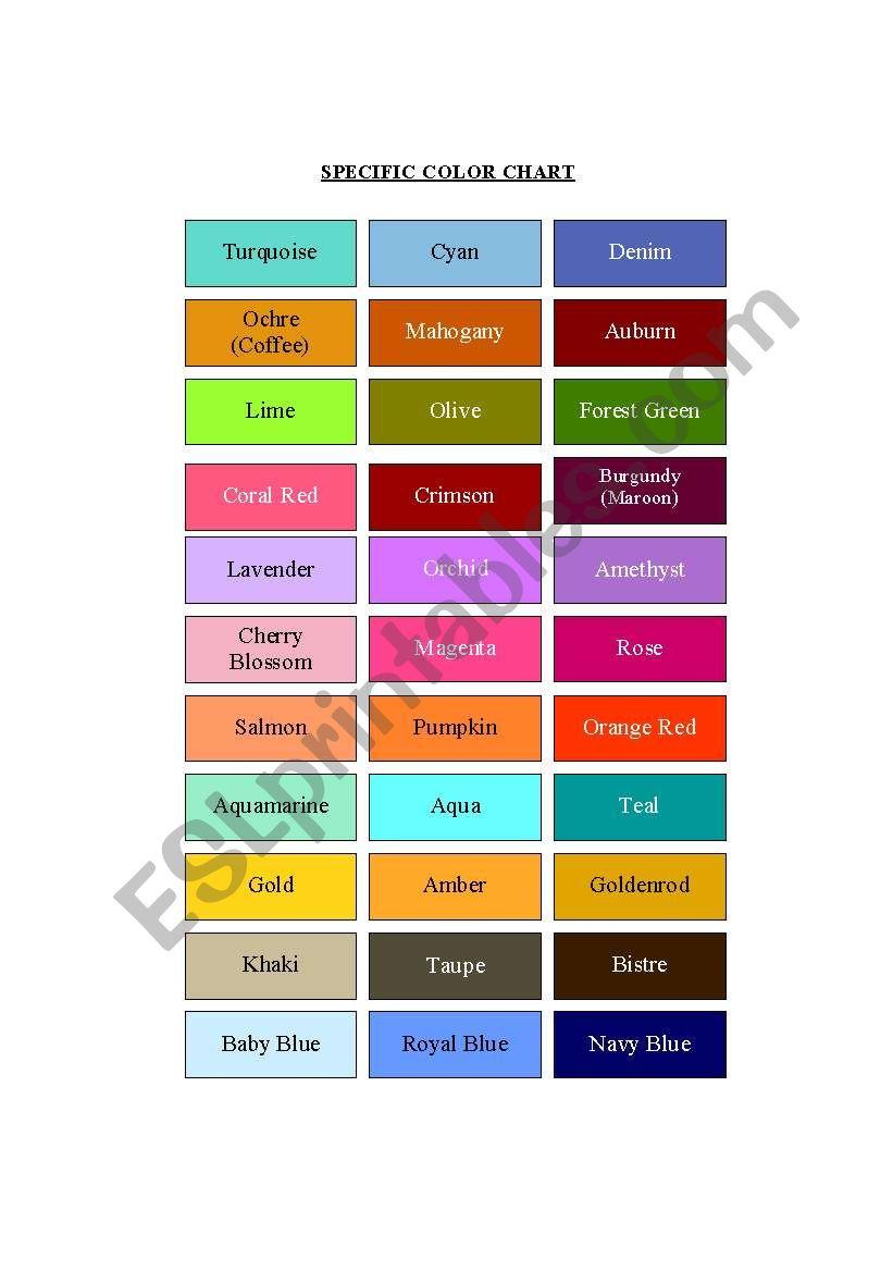 English worksheets: Color Chart