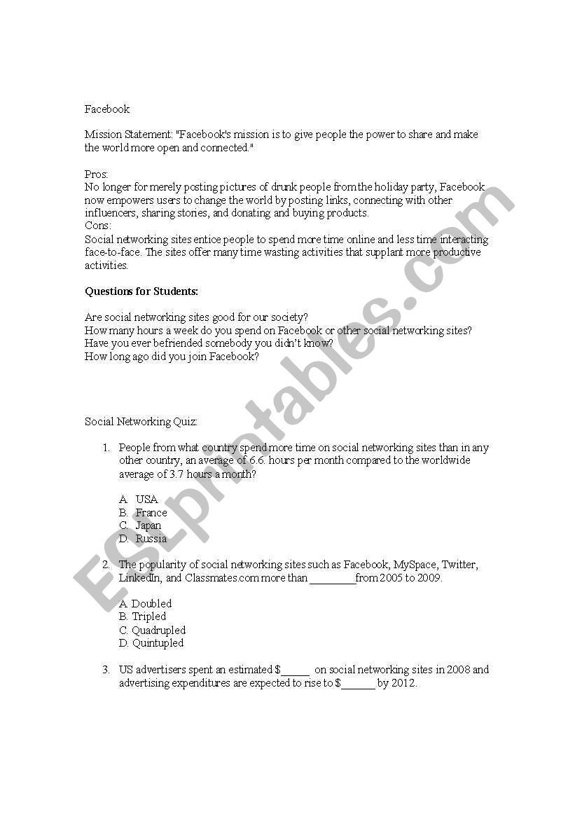 Role of Social Networking Lesson - ESL worksheet by