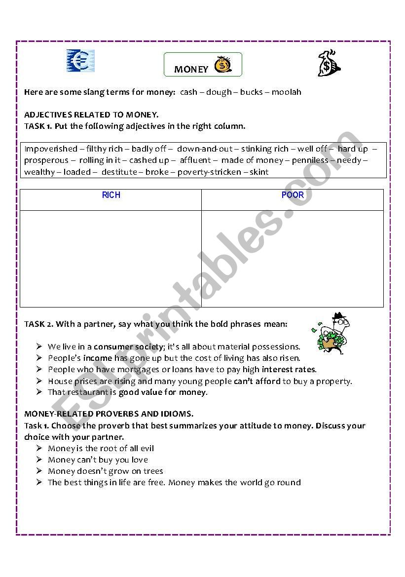 Vocabulary+ idioms+proverbs related to MONEY worksheet (Key included)