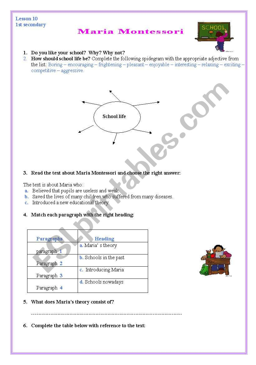 Reading: Maria Montessori worksheet