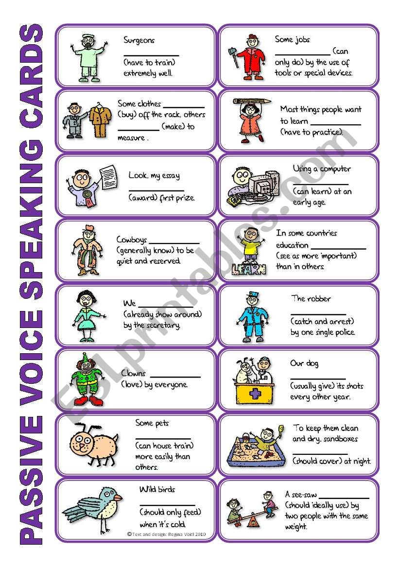 SET 4: Passive voice / tenses / adverbs of frequency / irregular verbs / modals - worksheet OR speaking activity (purple series)