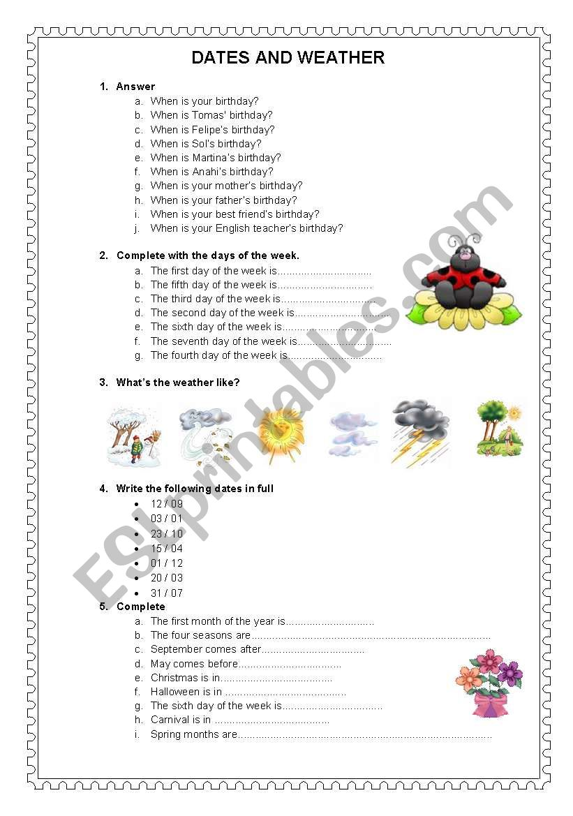 DATES AND WEATHER worksheet