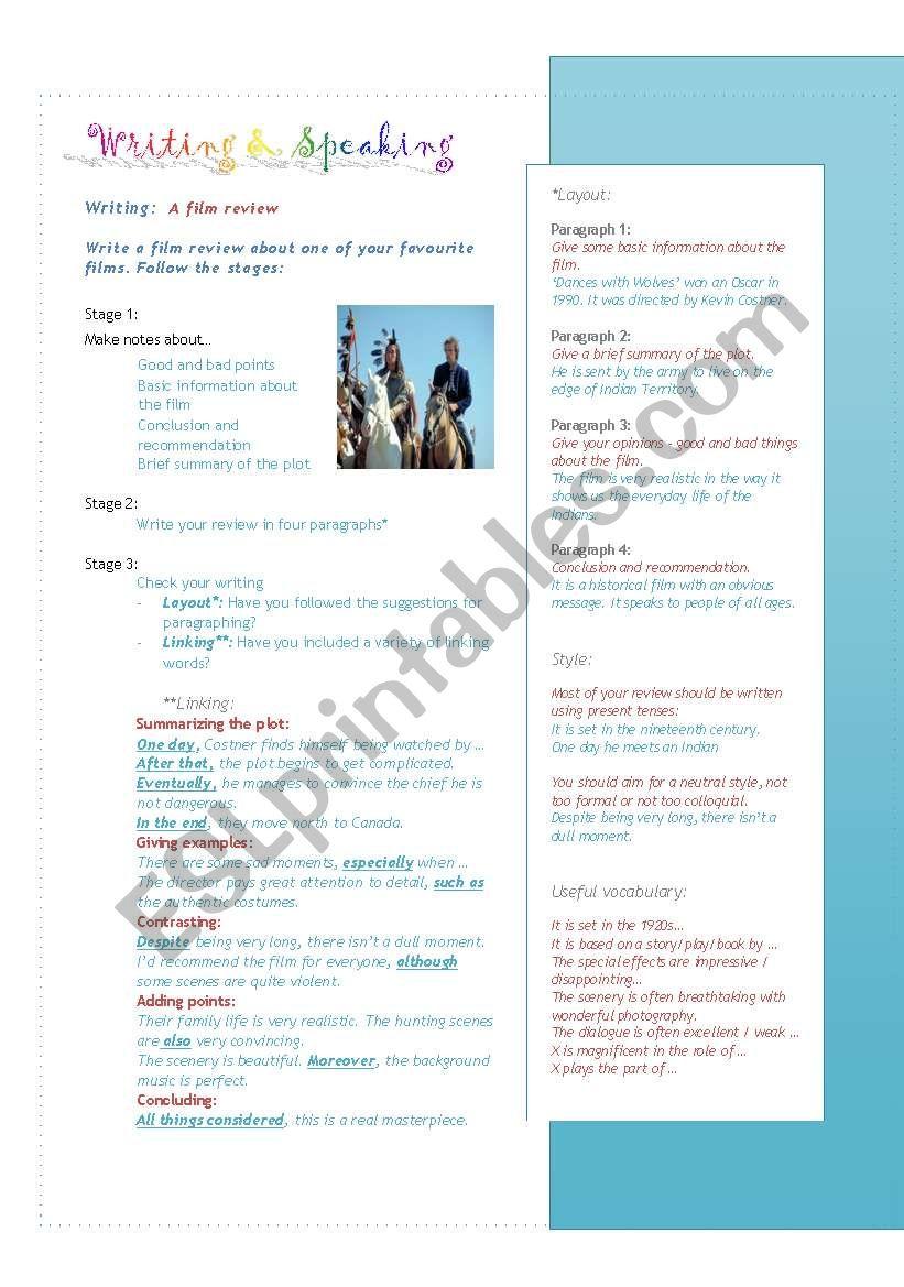 Writing and speaking worksheet