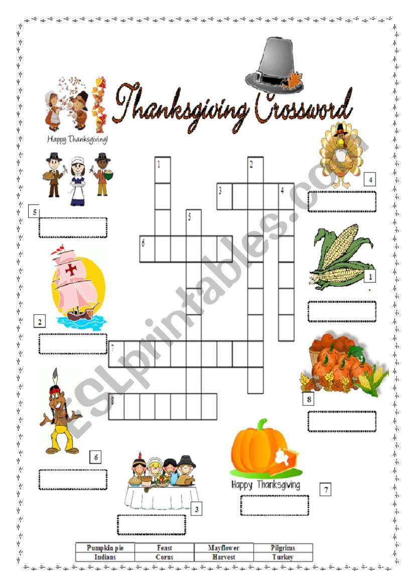 Thanksgiving Crossword Esl Worksheet By Sandrinef