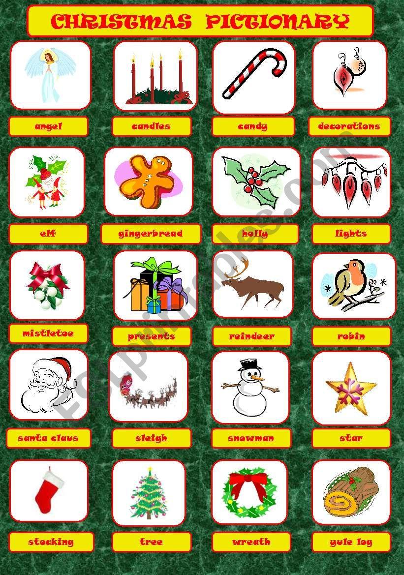 Christmas Pictionary.Christmas Pictionary Esl Worksheet By Jannabanna