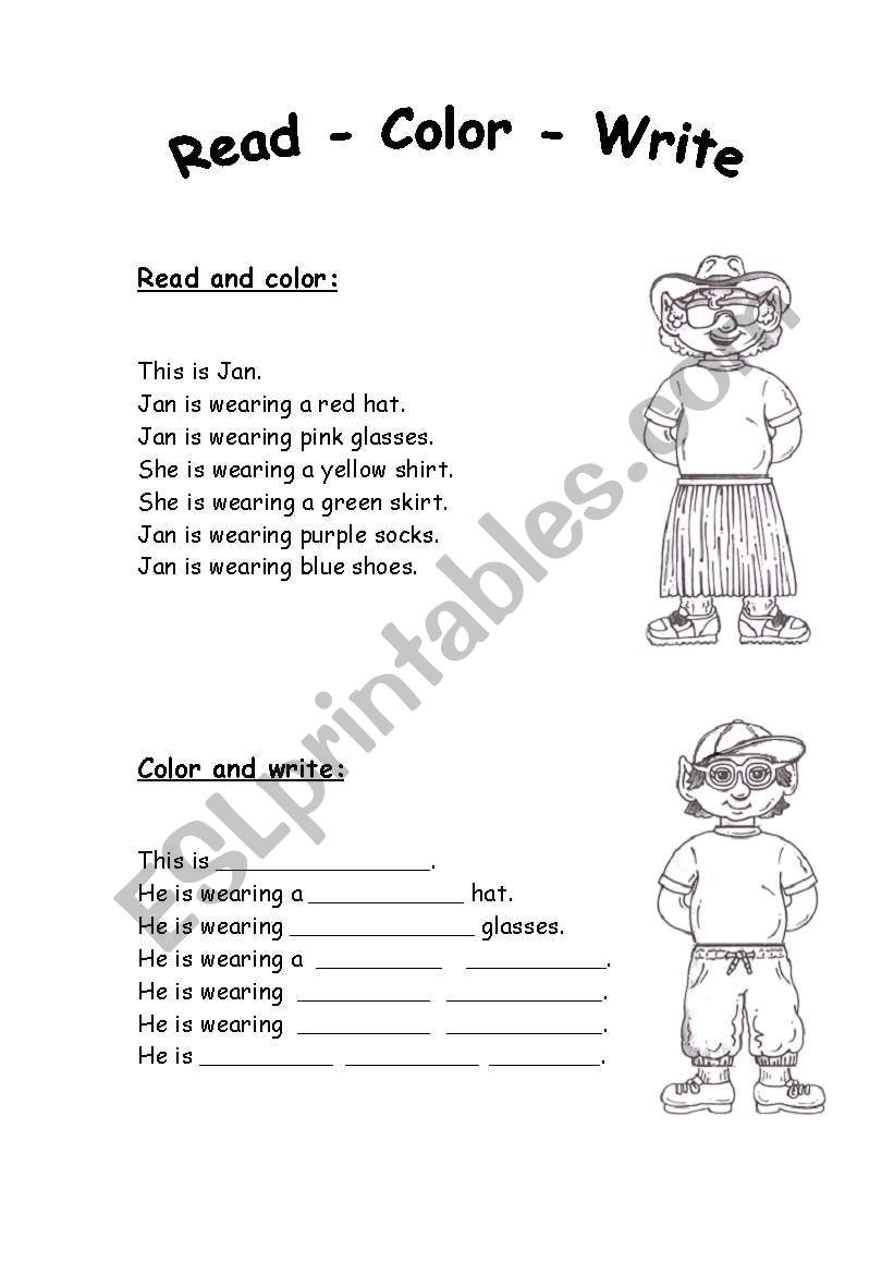 reading and writing about colors and clothes esl worksheet by mariong. Black Bedroom Furniture Sets. Home Design Ideas