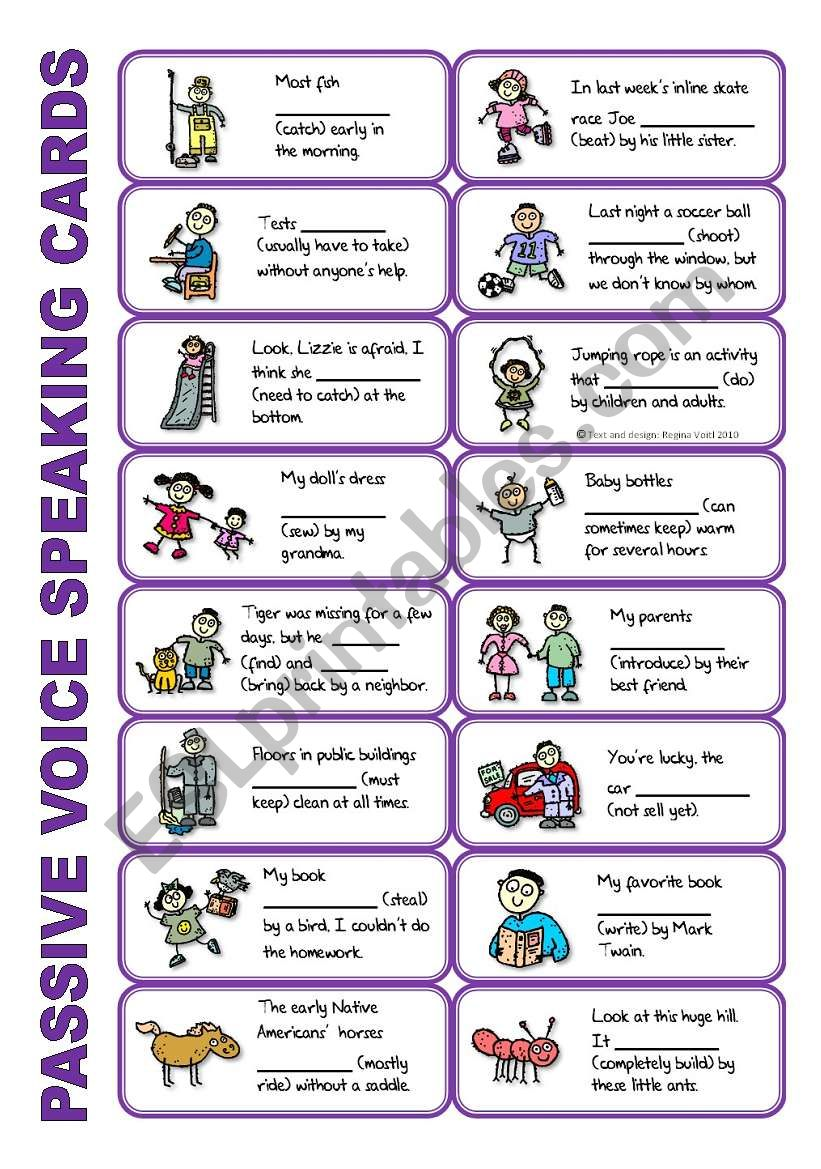 SET 5: Passive voice / tenses / adverbs of frequency / irregular verbs / modals - worksheet OR speaking activity (purple series)