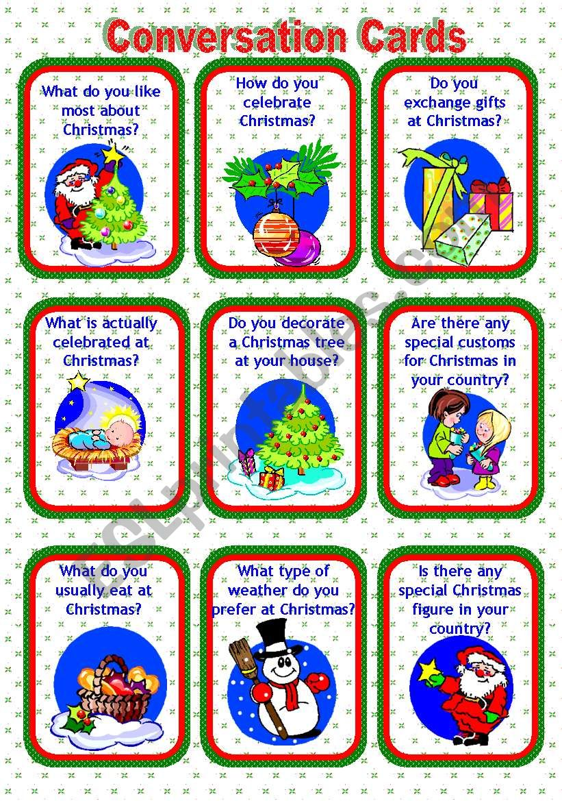CONVERSATION CARDS: CHRISTMAS worksheet