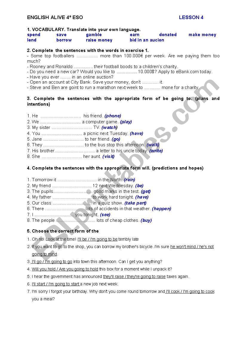 ENGLISH ALIVE 4º ESO - PRACTICE TEST - UNIT 4 - ESL