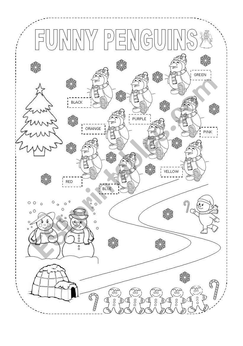 Christmas Funny Penguins worksheet