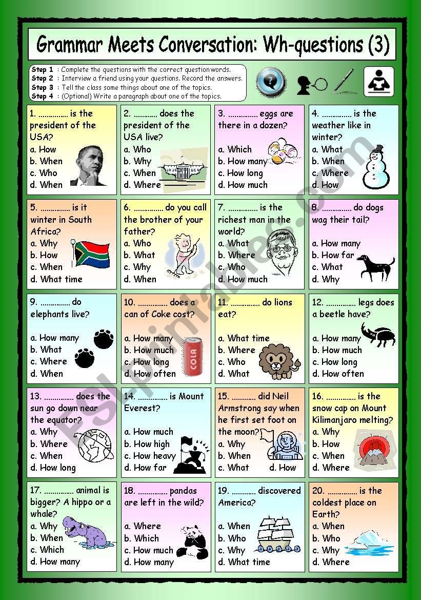 Grammar Meets Conversation: Wh-questions (3) - General Knowledge