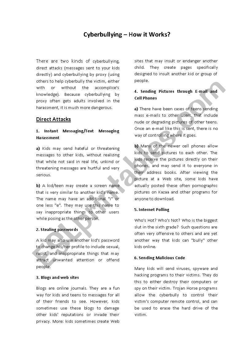 Cyberbullying worksheet