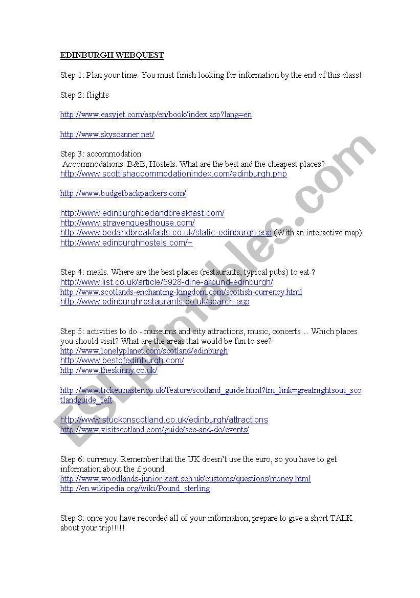 Edinburgh webquest worksheet