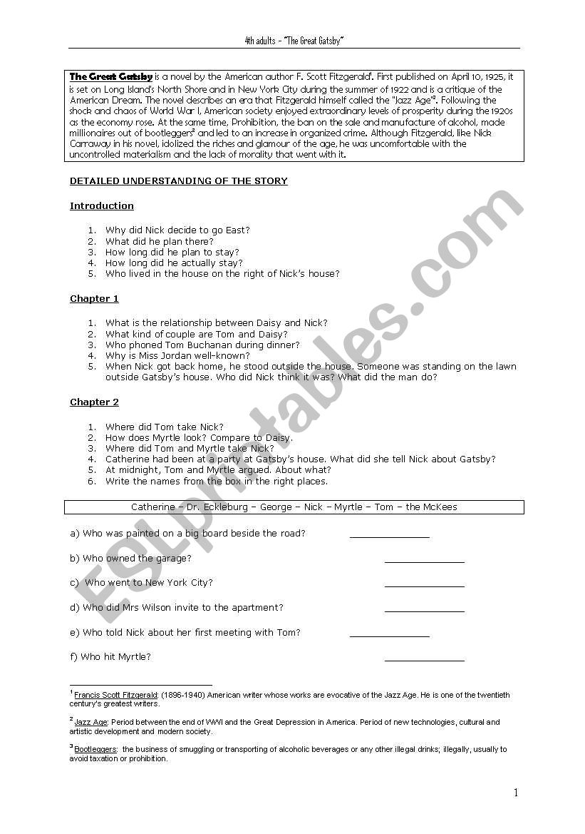 33 The Great Gatsby Character Worksheet Answer Key - Free ...