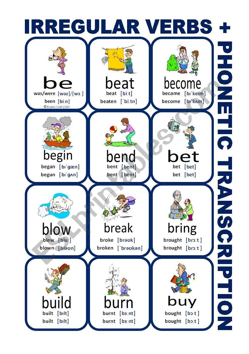 Set1: Irregular verbs cards + phonetic transcription