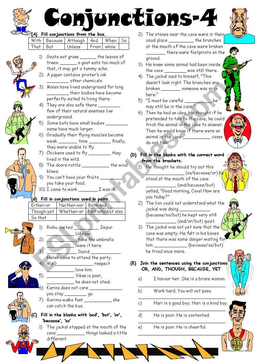 Conjunctions-4 (Editable with Answer Key)