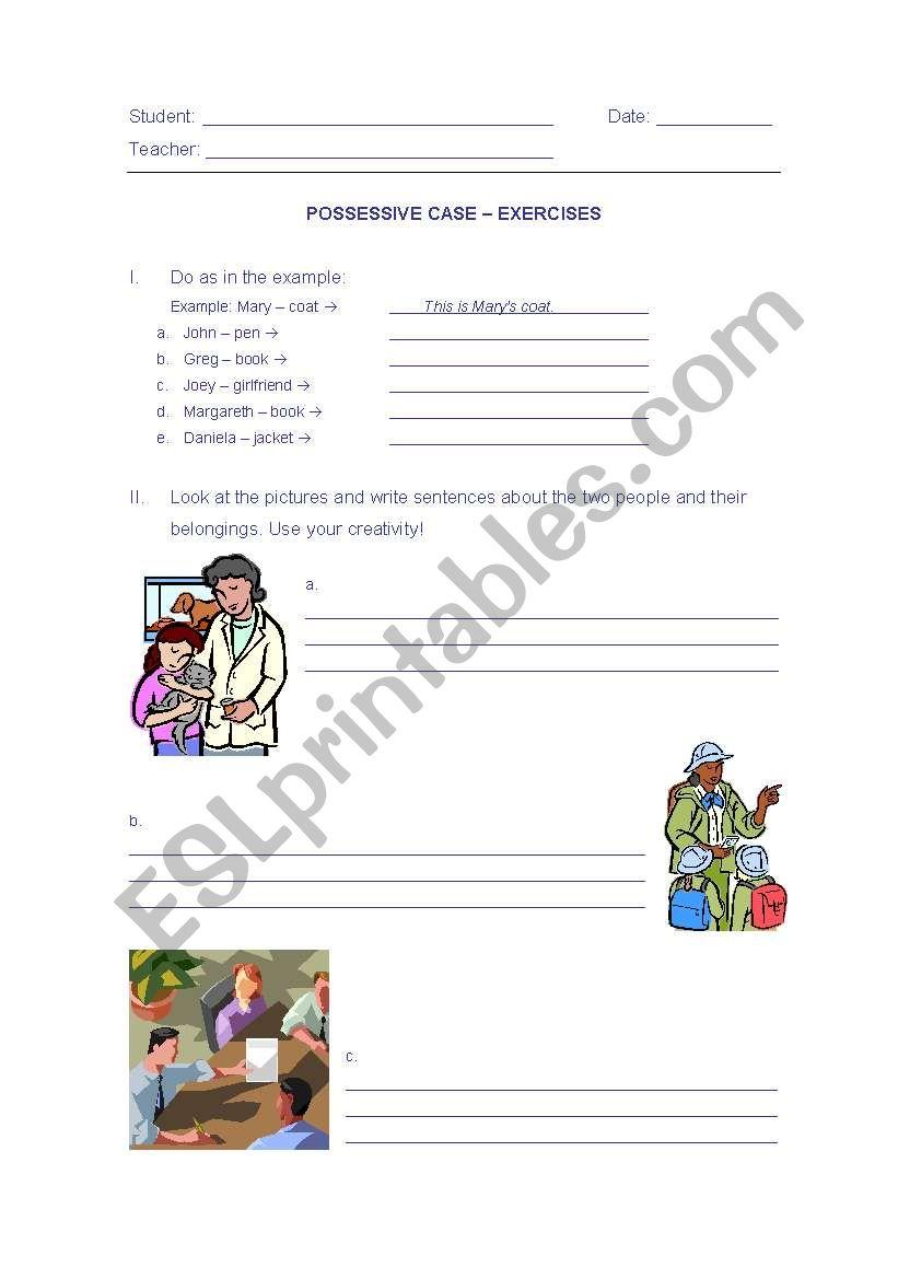 Possessive Case ´s  worksheet
