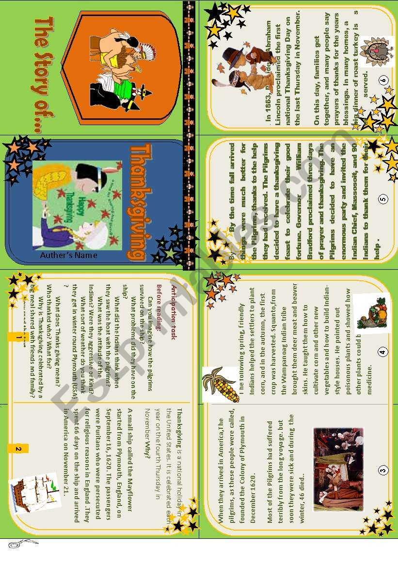 Your minibook of Thanksgiving + Question and answer card game  - ESL