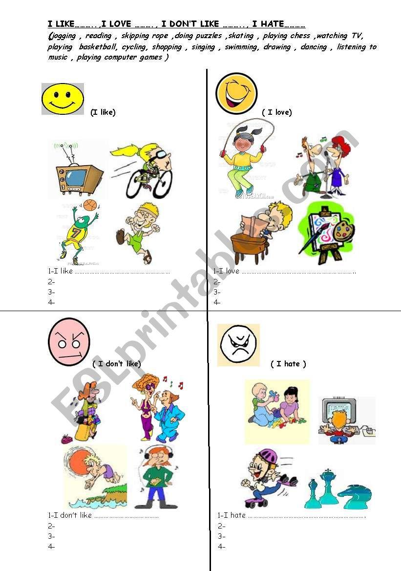 leisure time activities worksheet