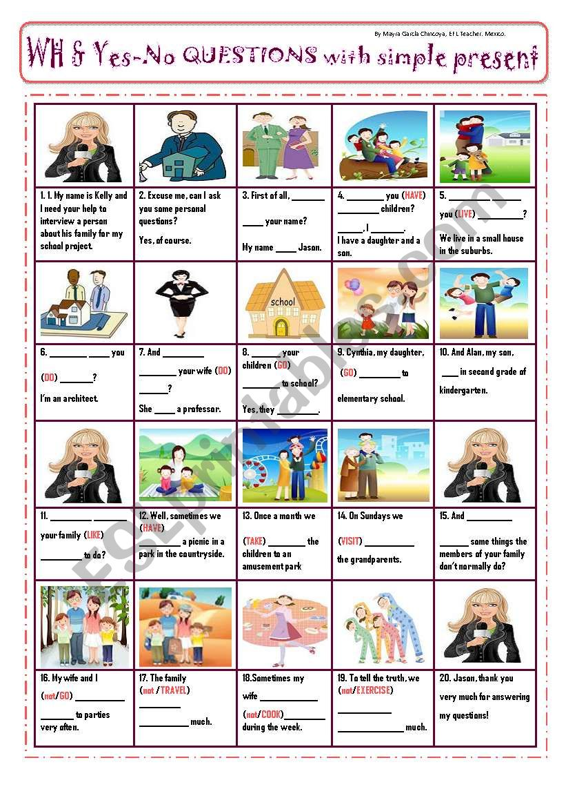 INTERVIEW TO PRACTICE PRESENT TENSE (be, do, does & question words) - PIcTuRe StOrY!