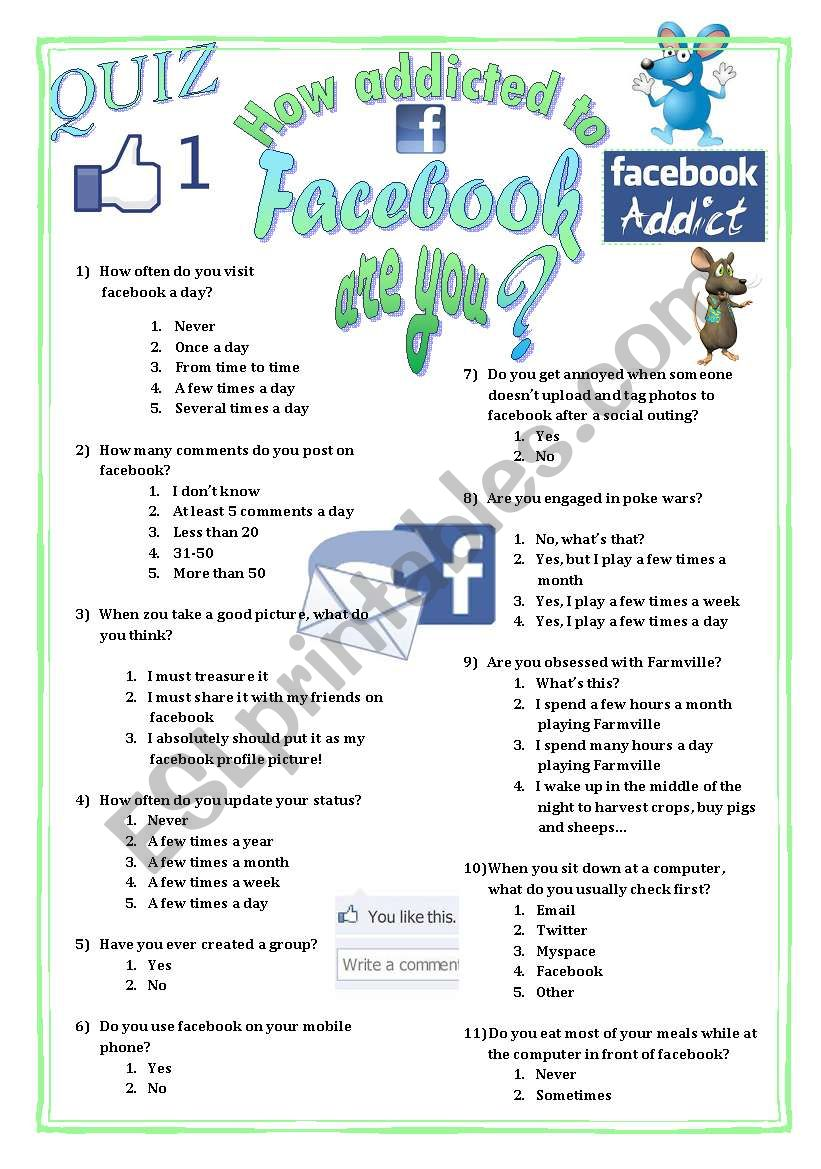 NEW Quiz to test your students´ addiction to Facebook
