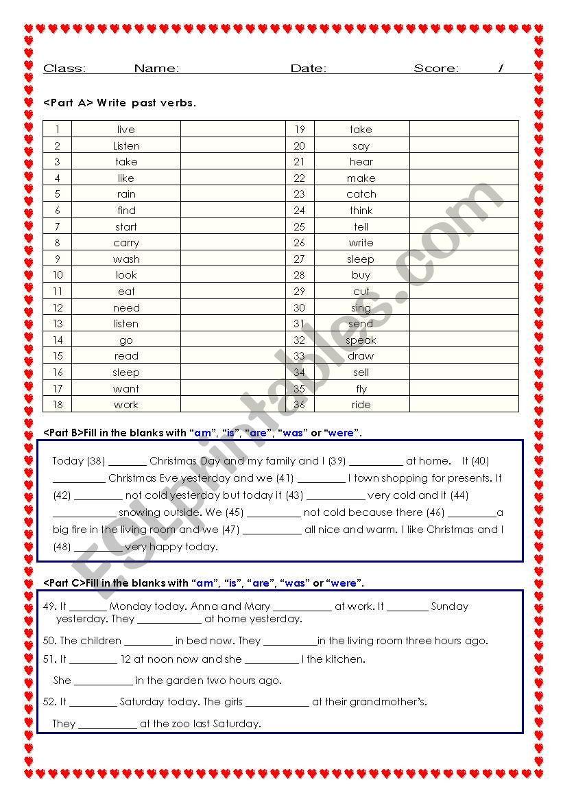 Past Tense Test sheet/ worksheet