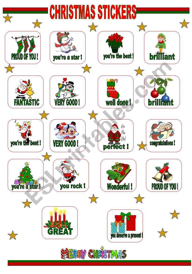 CHRISTMAS STICKERS worksheet