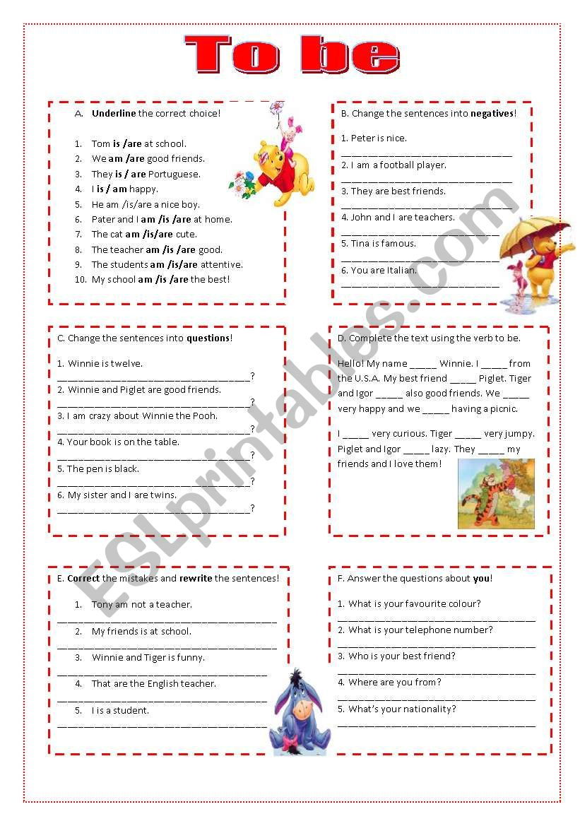 Worksheet on the verb to be worksheet