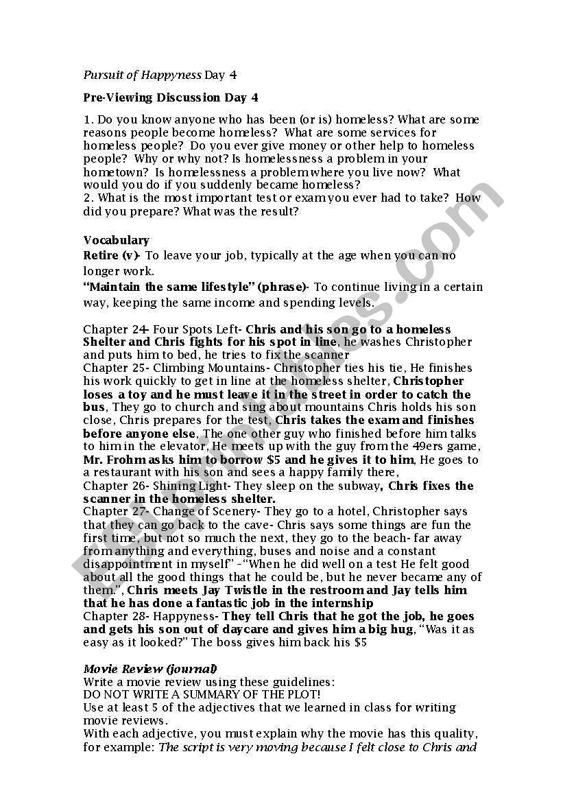 Pursuit of Happyness Day 4 worksheet