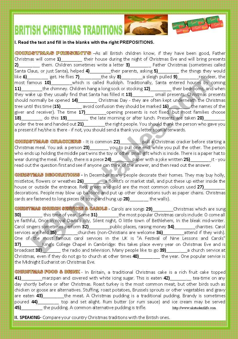 BRITISH CHRISTMAS TRADITIONS worksheet